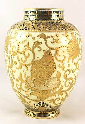 Stunning Antique Hand Painted Vase Royal Crown Derby China Raised Gold Encrusted