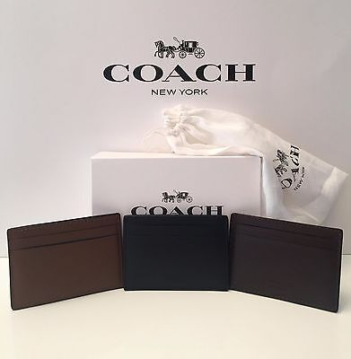 Men's Coach Money Clip Card Holder Case Leather F75459 NWT 3 Colors