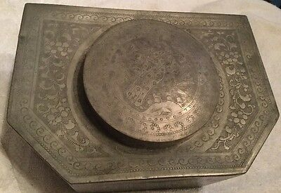 Antique Chinese Double Lidded Carved Etched Pewter Bakelite Tea Caddy Box.
