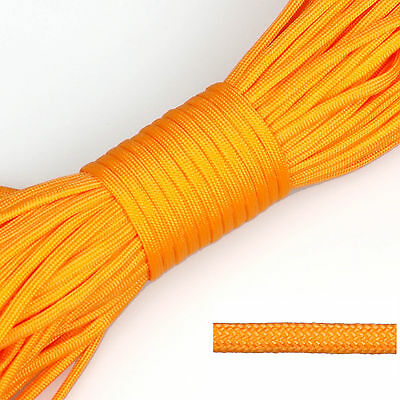 550 Paracord Parachute Cord Lanyard Mil Spec Type III 7 Strand Core 20ft Orange