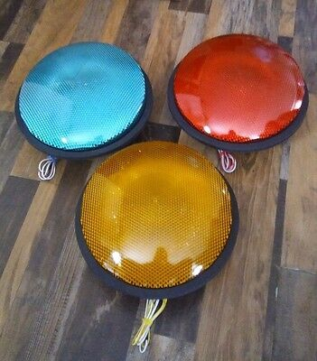 """SET OF WORKING GE 12"""" LED TRAFFIC LIGHT SIGNALS 120V Red Green Yellow"""