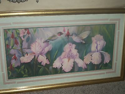 "Home Interior Hummingbirds & Iris Print~Signed By Robbin Allen~23-1/4""By 13-3/8"""