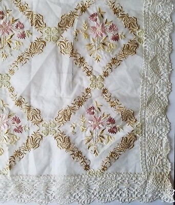 A4 Antique Tablecloth Silk Embroidery Organza Organdy Edwardian Tea Sm Sheer