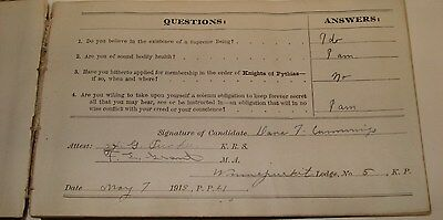 Knights Of Pythias Question Book, Cherryfield, Maine, Lodge #5, 1913-1944 RARE!