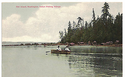 U.s.a. Vintage Postcard Washington : Hat Island : Indian Fishing Village : Wash.