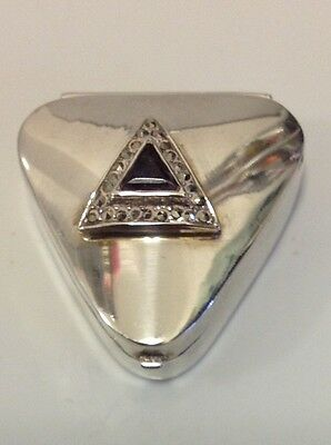 Marcasite Amethyst  Triangle Pill Box : Solid Silver: 13.4gms: