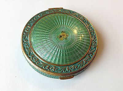 Vintage Guillochi Green Enameled Ladies Compact Powder Case