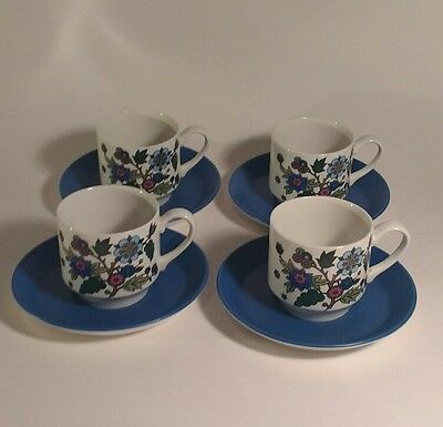 Midwinter Pottery Alpine Blue Jessie Tait 4 coffee cups/saucers retro flowers