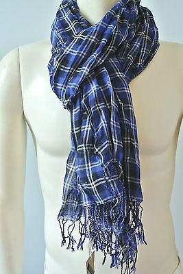 Club Monaco Men's Blue Plaid Wool Peason Scarf NwT one Size