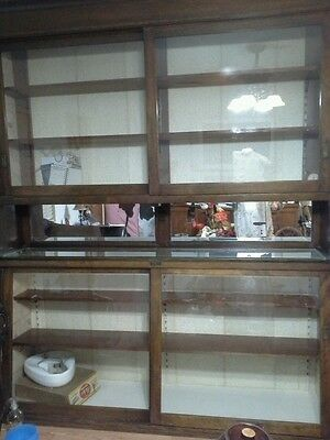 Vintage Antique UPTON DRUG Pharmacy large store Display Cabinet WOOD