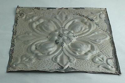 "One 12""x 12"" Architectural Antique Embossed Tin Ceiling Tile Rosette Tulips"