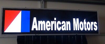 Vintage AMERICAN MOTORS DEALERSHIP LIGHTED NEON METAL SIGN AMX JAVELIN AMC