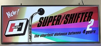 Vintage HURST SHIFTERS LIGHTED CLOCK SIGN CHEVY FORD CHRYSLER DODGE HURST OLDS
