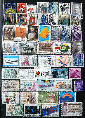A Good Collection of Different Used Older Spainish Stamps.