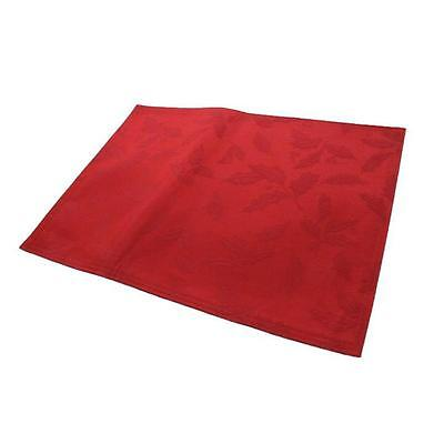 Lenox 1116 Holly Damask Red Jacquard Christmas Linens Placemat 18x13 BHFO
