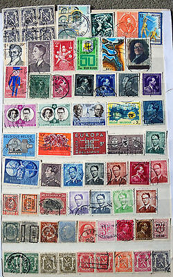 A Good Collection of Different Used Belgium Stamps.