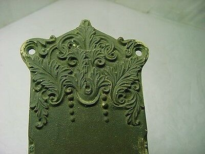 1 Large Antique Victorian Ornate Solid Bronze Door Knob Back Plate 13'' Long