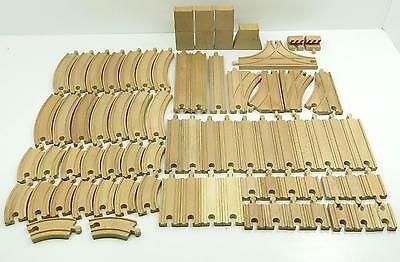 HUGE TRACK LOT Thomas Brio Compatible Wooden Train Set 73 SWITCHES RISERS +