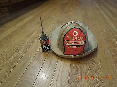 Texaco Home Lubricant and Texaco fire chief hat antique vintage old