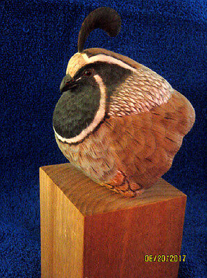 Hand Carved Wood Quail Painted Art, Signed Folk Art