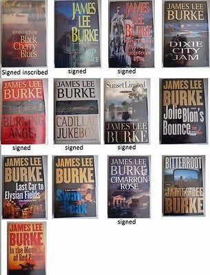 13 Hardcover collection of James Lee Burke books, 7 signed, 1st editions