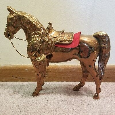 Vintage Large Pot Metal Horse Figurine with removable saddle