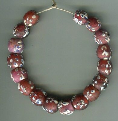 African Trade beads Vintage Venetian glass floral fancy white hearts
