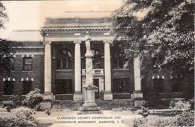 1914 CONFEDERATE SOLDIER Monument Postcard~Clarendon Co. COURTHOUSE~Manning, SC
