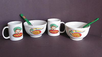 Lucky Charms Cereal Bowls, Cups & Spoons - 2 Sets - 2002. New!! Unused!!