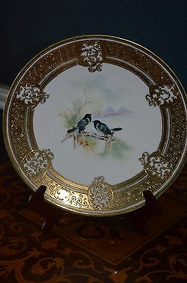 """Gorgeous Nippon Noritake 9"""" Wall Game Bird Plaque with Heavy Raised Gold mark#52"""