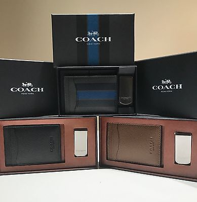 NWT Coach Men's 3 in1 Leather Card Case Money Clip Gift Set Box F75479 F59536