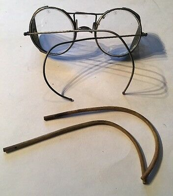 Vintage Wire Frame Glasses w/ Safety Mesh Metal Guards - Steampunk Motorcycle