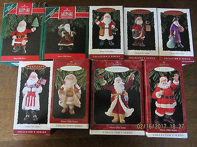 Lot Of Nine Vintage Hallmark Merry Olde Santa Series, 1, 2, 4, 5, 6, 7, 8, 9, 10