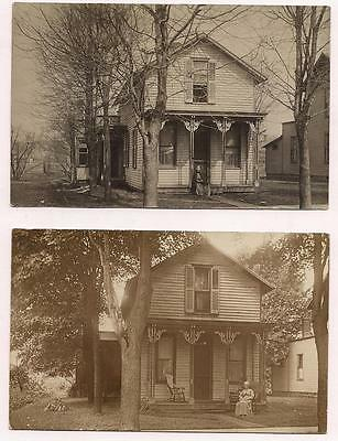 2 RPPC Prospect, Ohio Aunt Margarit & Aunt Lib at House w Fancy Soffits~c1910 VG