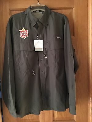 RARE Lone Star Beer L/S EDDIE BAUER FISHING Shirt SIZE LARGE NEW!