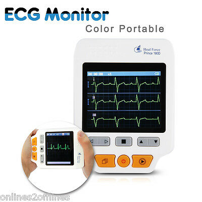 Portable 180D Heal Force Handheld Color ECG EKG Heart Monitor Sensor Electrodes