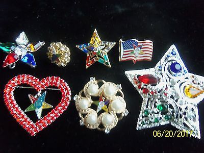 Order Eastern Star Brooches/lapel Pins Lot Of 7