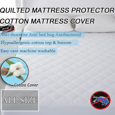 Anti Bacterial Dust Mite Cotton Quilted Mattress Protector Full Fitted Cover