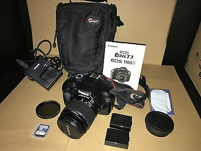 Canon EOS 1100D DSLR Camera Kit w 18-55mm III Lens, 2 batteries, sd card case