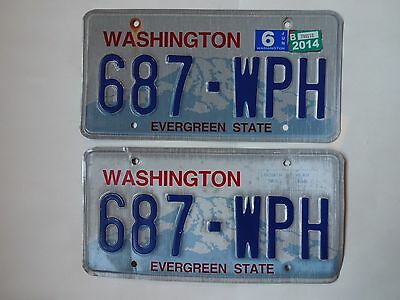 2014 WASHINGTON Vehicle PAIR of LICENSE PLATES with # 687-WPH Evergreen State