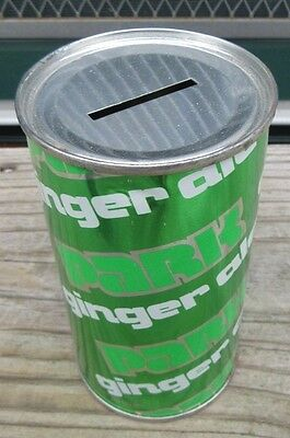 1980 Straight Steel Park Ginger Ale Soda Flat Top Pop Bank Can