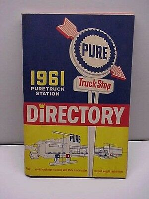 1961 PURE TRUCK STOP Service Station Directory Pictures Map Motel Restaurant Ect