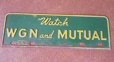 Watch WGN and MUTUAL Metal Advertising Radio Sign Vintage Classic Cubs Broadcast