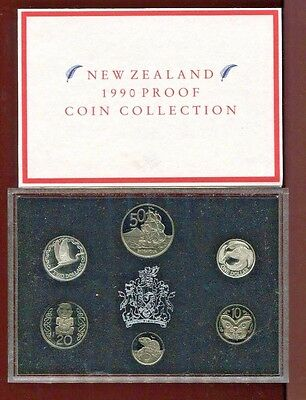 1990 New Zealand  Proof Set 6 Coins  (2 Silver)   in Original Packaging and COA