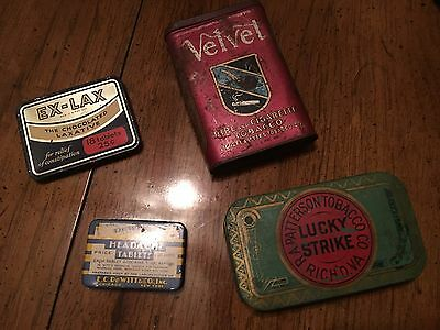 Vintage Tin Lot: Velvet Tobacco, Lucky Strike, Ex Lax & Dewitts Headache Tablets