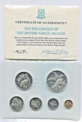 1974 British Virgin Islands Proof Set 6 Coins w/ Silver Dollar OGP and COA BIRDS