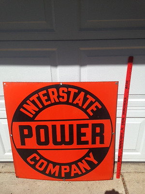 Vintage enamel Interstate Power Company advertising sign, Iowa & Minnesota