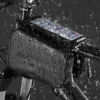"""ROCKBROS Waterproof Touch Screen Bicycle Bag Front Top Tube Frame 6.0"""" Phone Bag"""