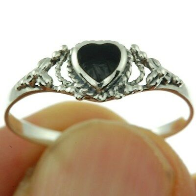 Heart Black Onyx Silver Ring, Mix US Size, 925 Solid Sterling Silver,