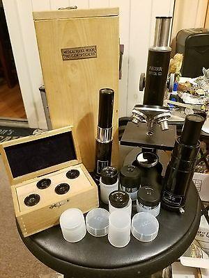"9.5"" VINTAGE PRECISION OPTICAL MICROSCOPE WITH WOOD CARRYING CASE and LENSES"